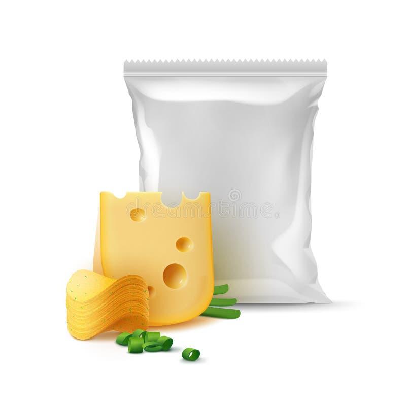 Pilha do vetor de microplaquetas friáveis da batata com cebola do queijo e o saco plástico vazio selado vertical da folha para o  ilustração stock