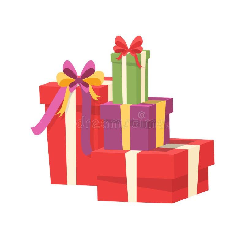A pilha do vetor envolveu pacotes, blocos de compra ilustração royalty free