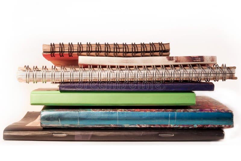 Pilha dos cadernos imagens de stock