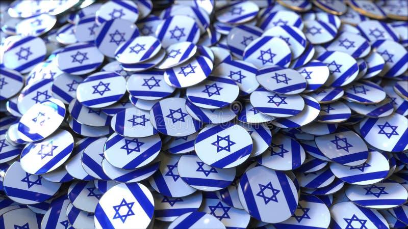 Pilha dos crachás que caracterizam bandeiras de Israel, rendição 3D ilustração stock