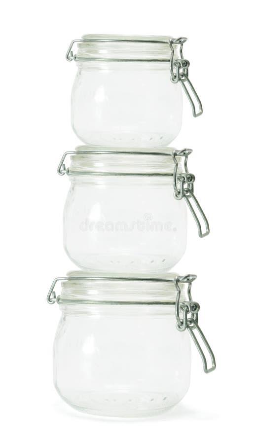 Pilha dos frascos de vidro foto de stock royalty free