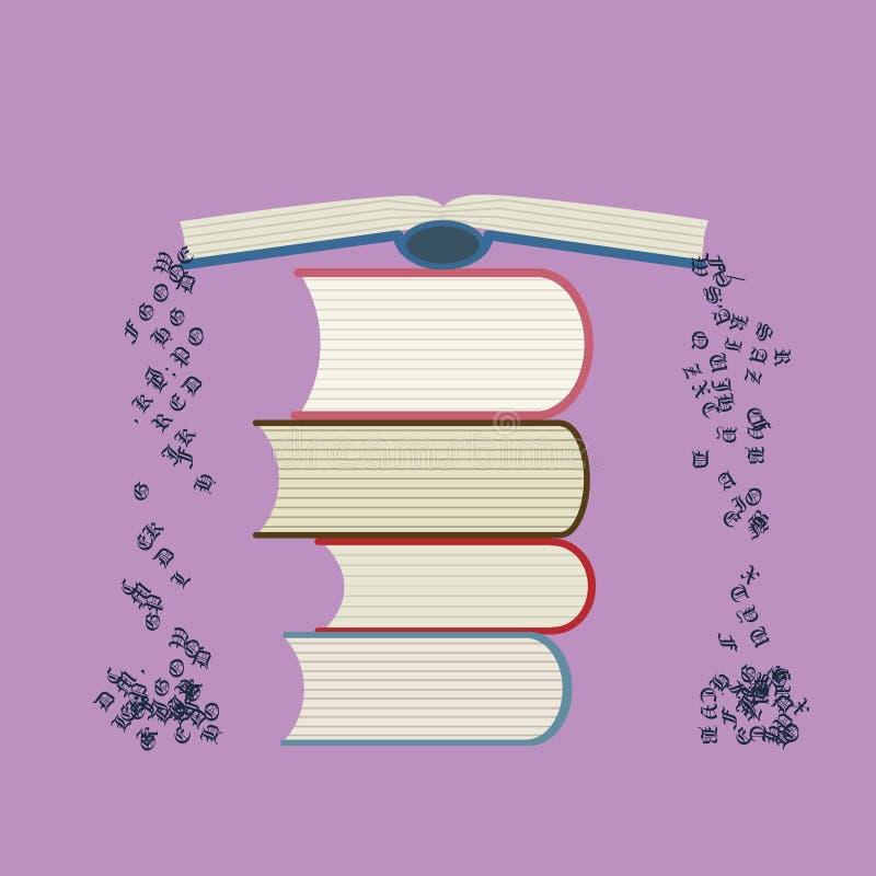 Pilha dos livros com escape das letras ilustração stock