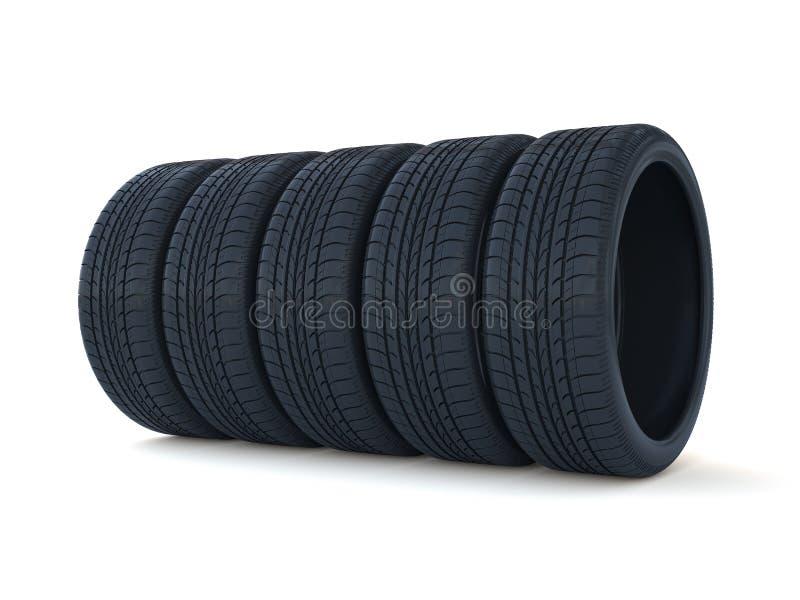 Pilha dos pneumáticos do carro ilustração royalty free