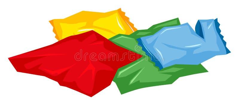 Pilha dos sacos de plástico no assoalho ilustração do vetor