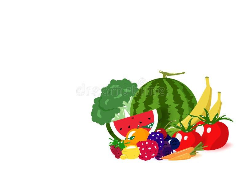 Pilha dos vegetais e dos frutos, menu saudável da dieta do equilíbrio da coleção do alimento, produtos alimentares, isolados no v ilustração stock
