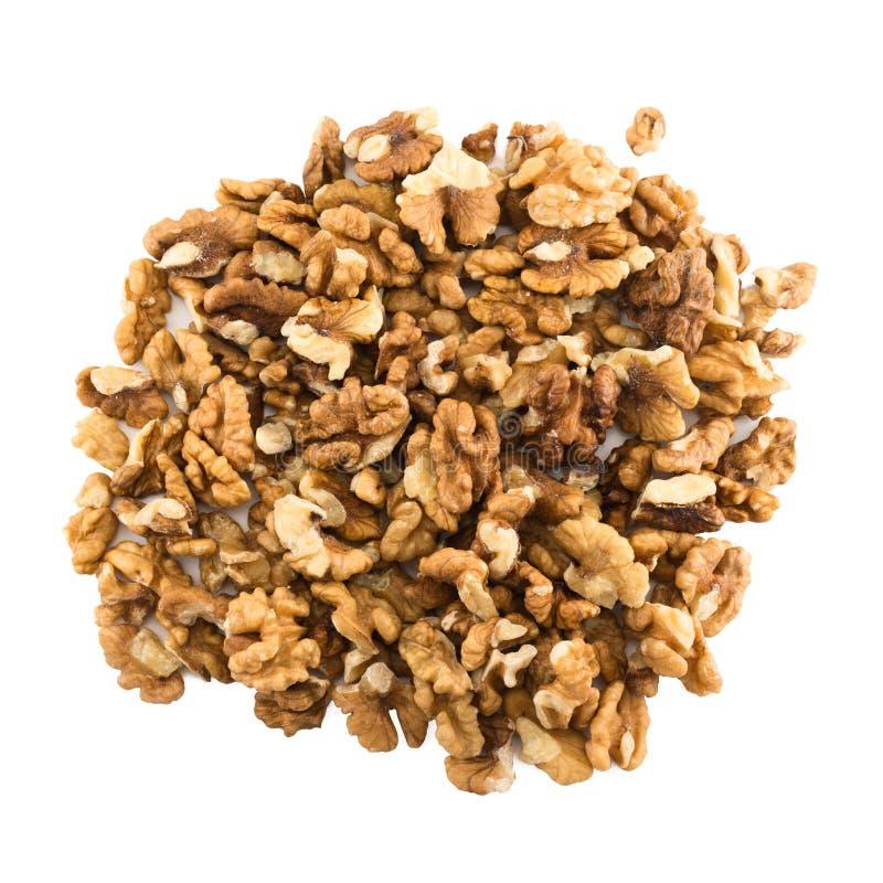 Pilha dos wallnuts, vista superior fotografia de stock