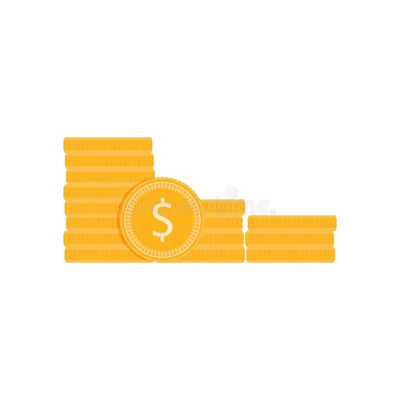 Pilha dourada da moeda isolada no branco ilustração do vetor