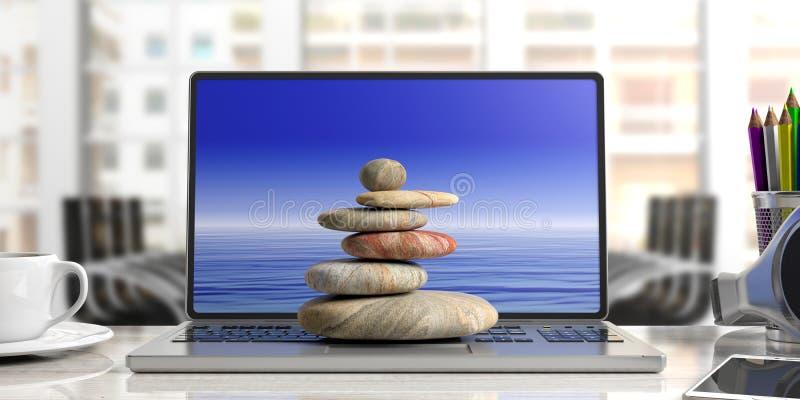 Pilha em um computador, fundo das pedras do zen do escritório ilustração 3D ilustração royalty free