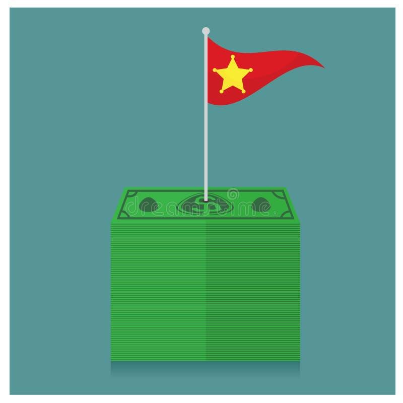 A pilha empilhada grande de centenas do dinheiro de dólares denomina o isometri ilustração do vetor