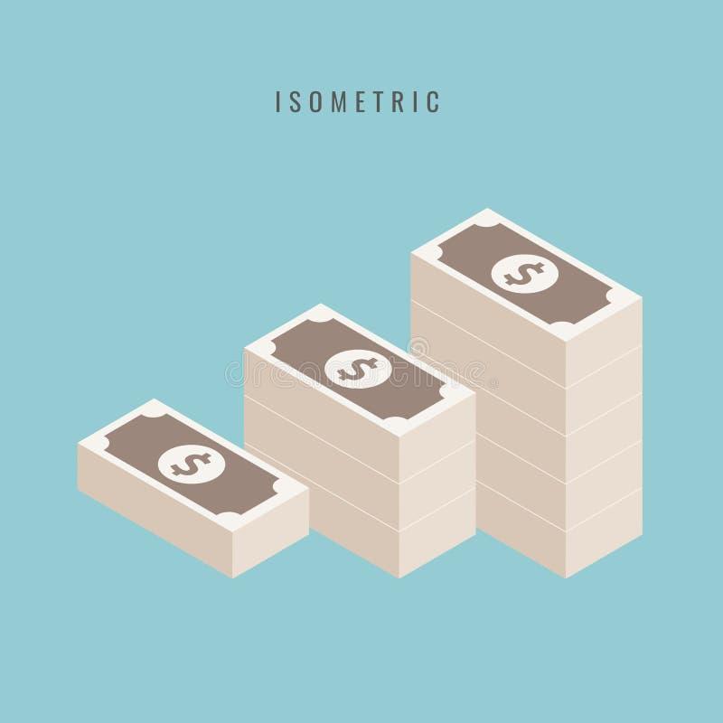 Pilha empilhada grande do dinheiro Centenas de dólares Isomet liso do estilo ilustração stock