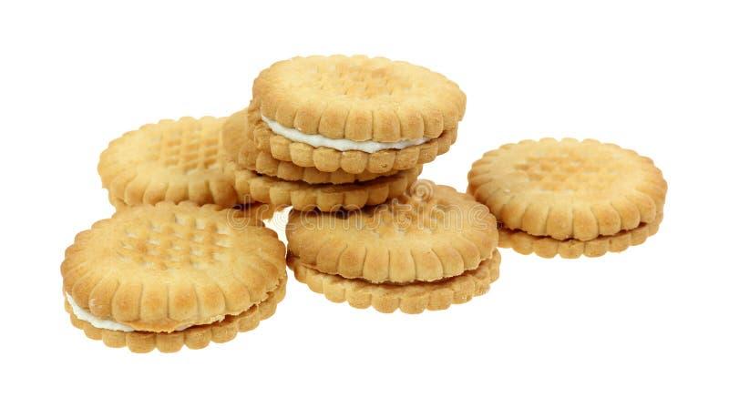 Pilha enchida creme da cookie da banana imagens de stock