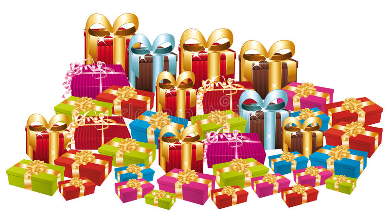 Pilha enorme de presentes festivos coloridos. ilustração royalty free