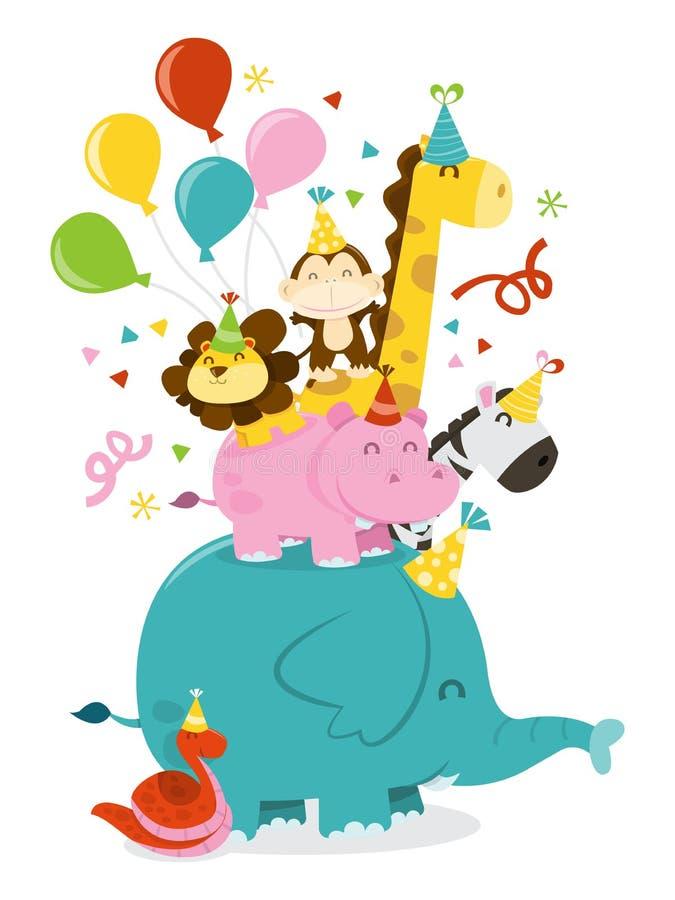 Pilha feliz da celebração do partido dos animais da selva ilustração royalty free