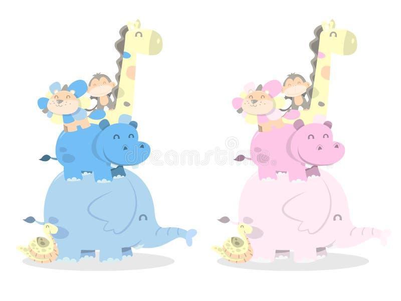 pilha feliz dos animais da selva do divertimento ilustração stock