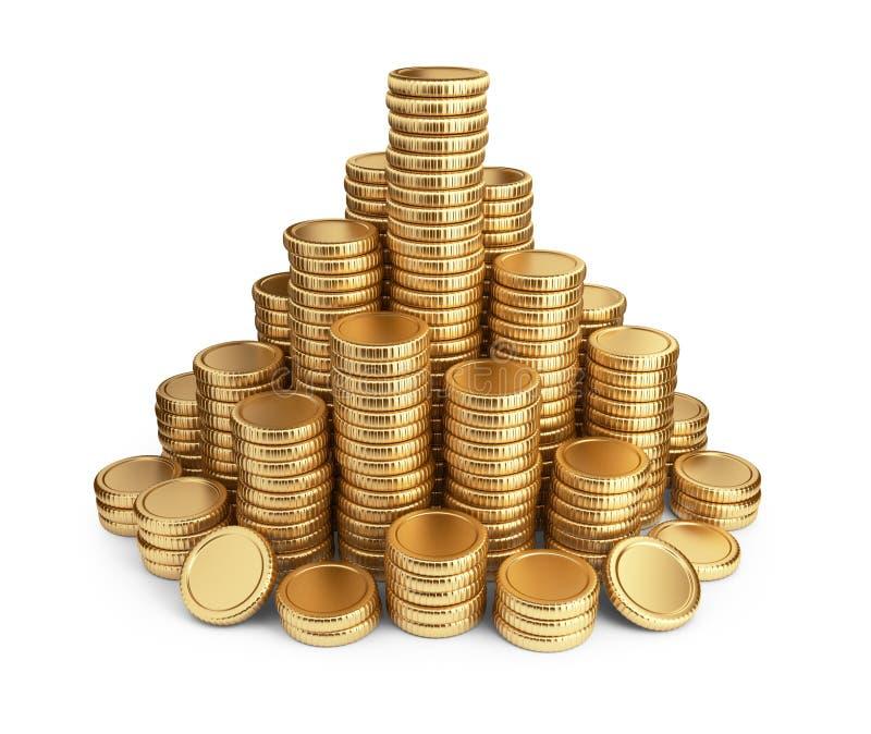 Pilha grande das moedas. ícone 3D   ilustração do vetor