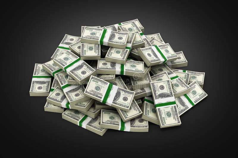 Pilha grande de notas de dólar americanas do dinheiro na ilustração preta do fundo 3d ilustração stock
