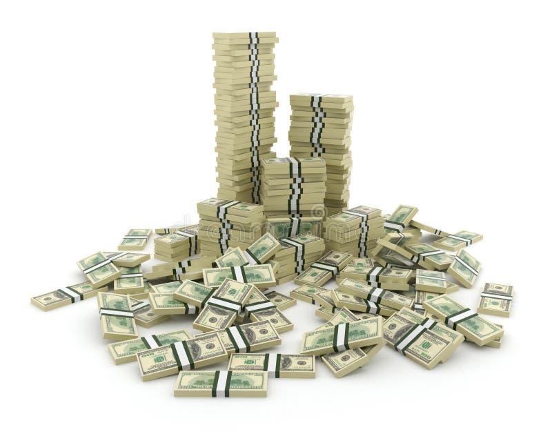 Pilha grande do dinheiro. Dólares verdes dos EUA 3D ilustração royalty free