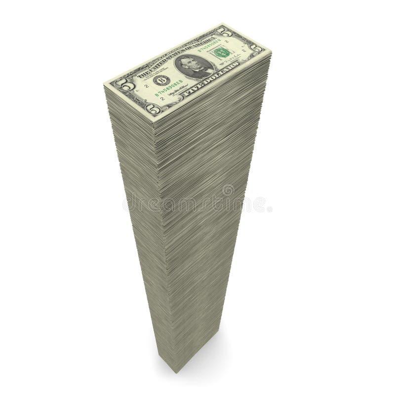 Pilha grande do ? do dinheiro notas de 5 dólares ilustração do vetor