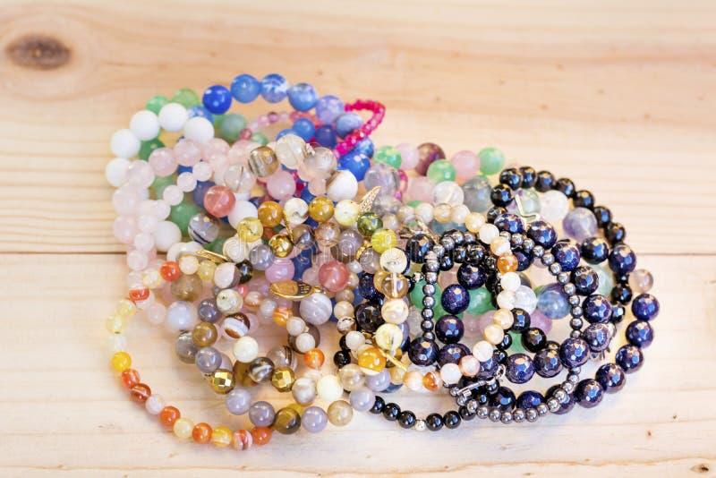 Pilha Lucky Stone Bracelets fotos de stock royalty free