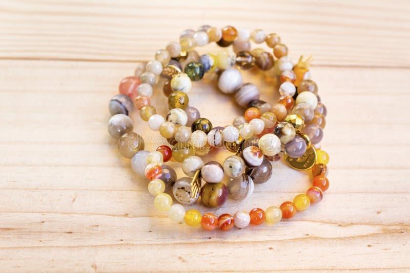 Pilha Lucky Stone Bracelets imagem de stock