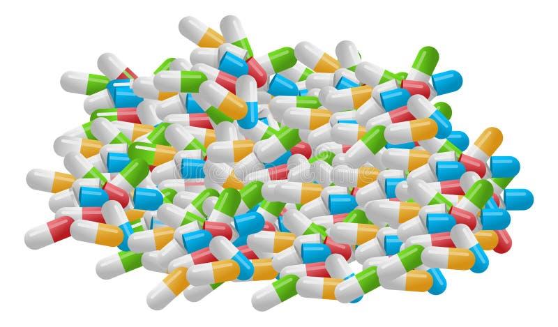 Pilha médica dos comprimidos isolados no fundo branco ilustração royalty free