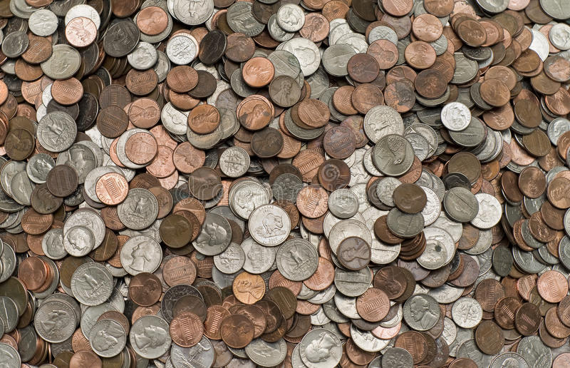 Pilha maciça das moedas fotografia de stock