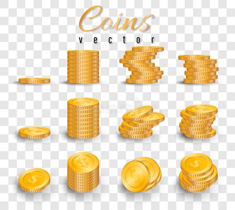Pilha realística de moedas de ouro isoladas no fundo transparente Pilha de moedas de ouro Ilustração do vetor ilustração do vetor