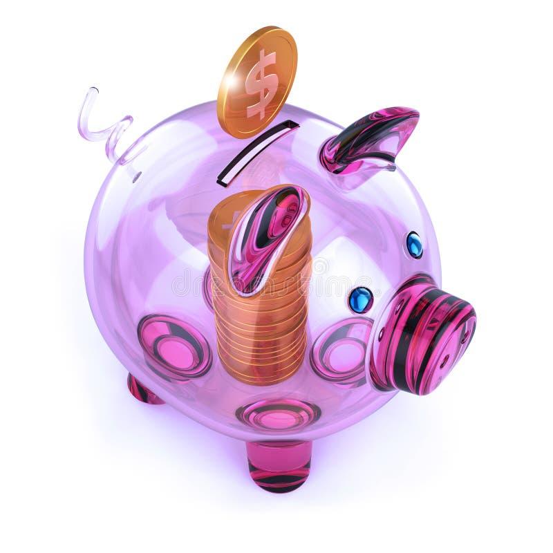 Pilha roxa do mealheiro e dourada transparente de vidro da moeda ilustração do vetor