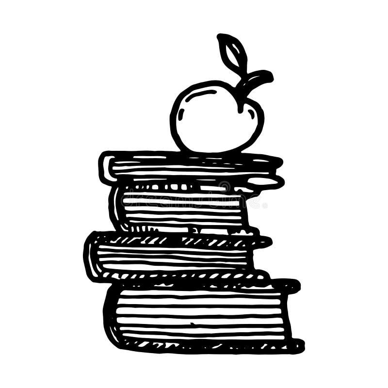 Pilha tirada mão de livros com garatuja da maçã ?cone do estilo do esbo?o Elemento da decora??o Isolado no fundo branco Projeto l ilustração royalty free