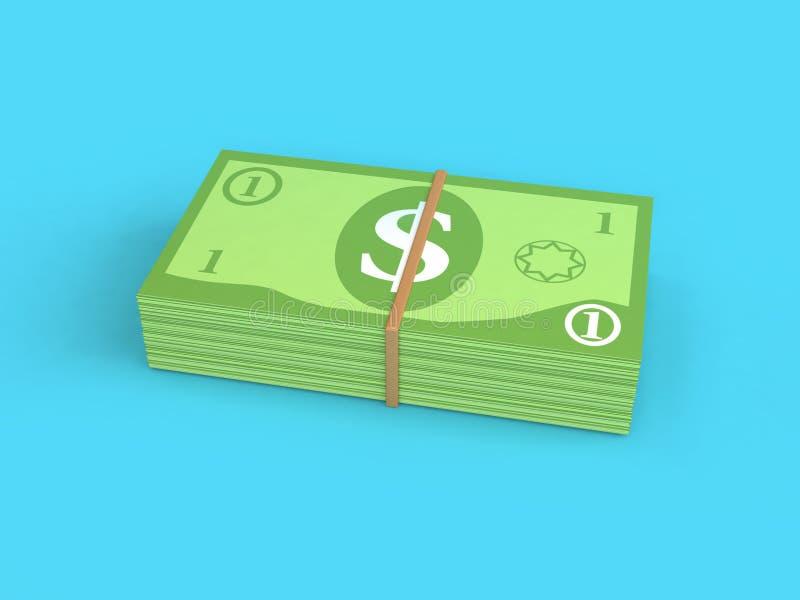 Pilha verde uma da dinheiro-cédula fundo azul 3d do estilo dos desenhos animados do dólar americano para render ilustração stock
