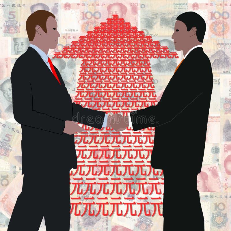 pilhandskakning yuan royaltyfri illustrationer