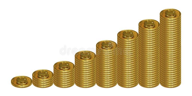 Pilhas crescentes de moedas ilustração royalty free