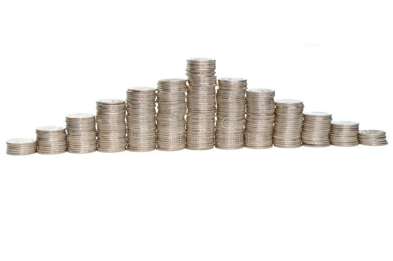 Pilhas crescentes e de diminuições das moedas fotografia de stock royalty free