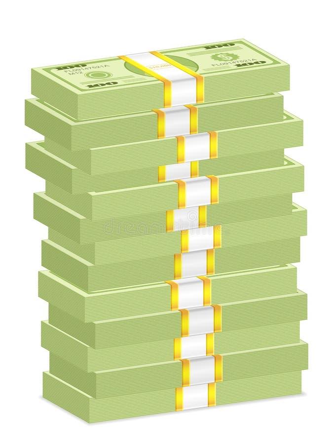 Pilhas da nota de banco do dólar ilustração royalty free