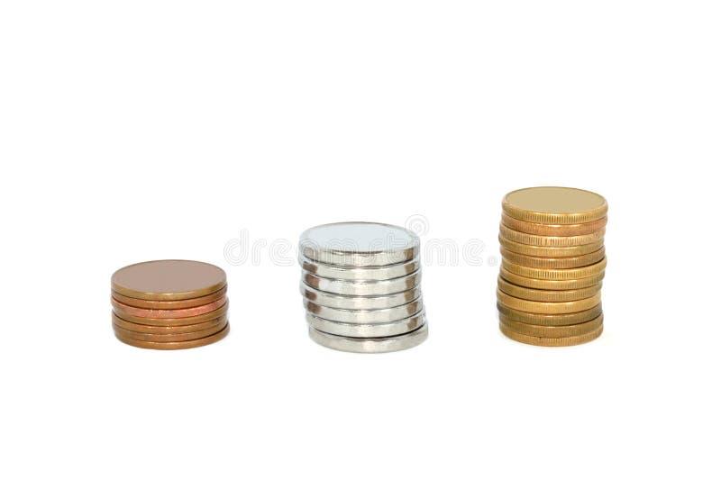 Pilhas das moedas & do x28; ouro; prata; bronze& x29; isolado fotografia de stock royalty free