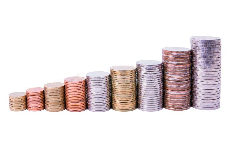 Pilhas das moedas que formam um gráfico crescente isolado no branco imagens de stock royalty free