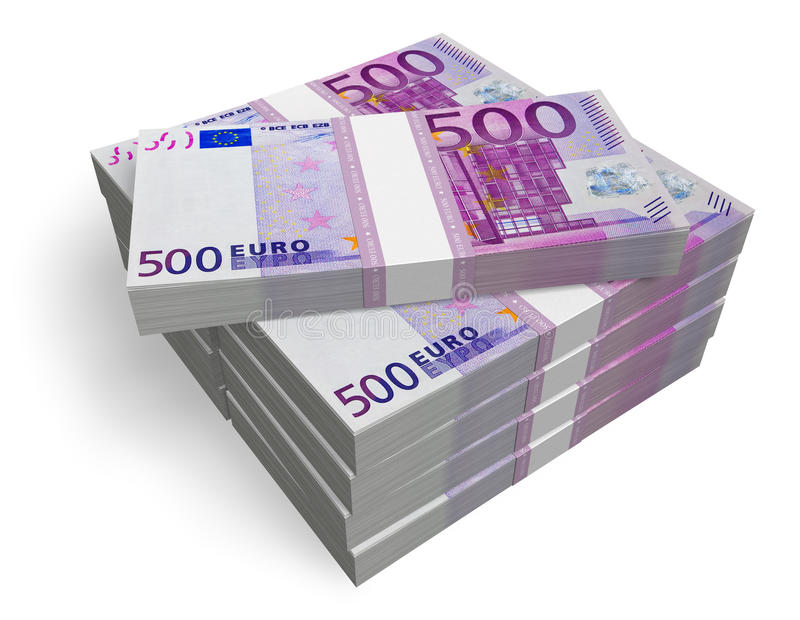 Pilhas de 500 euro- notas de banco ilustração do vetor