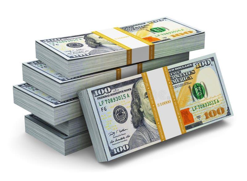 Pilhas de 100 cédulas novas do dólar americano ilustração do vetor