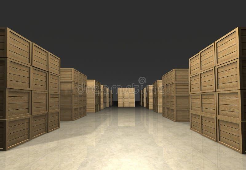 Pilhas de caixas de madeira ilustração royalty free