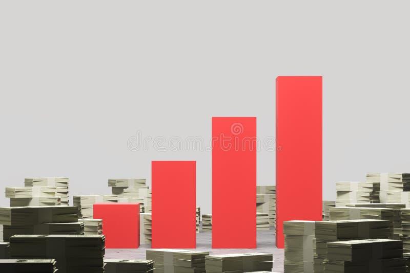 Pilhas de dólares em torno do gráfico vermelho ilustração royalty free