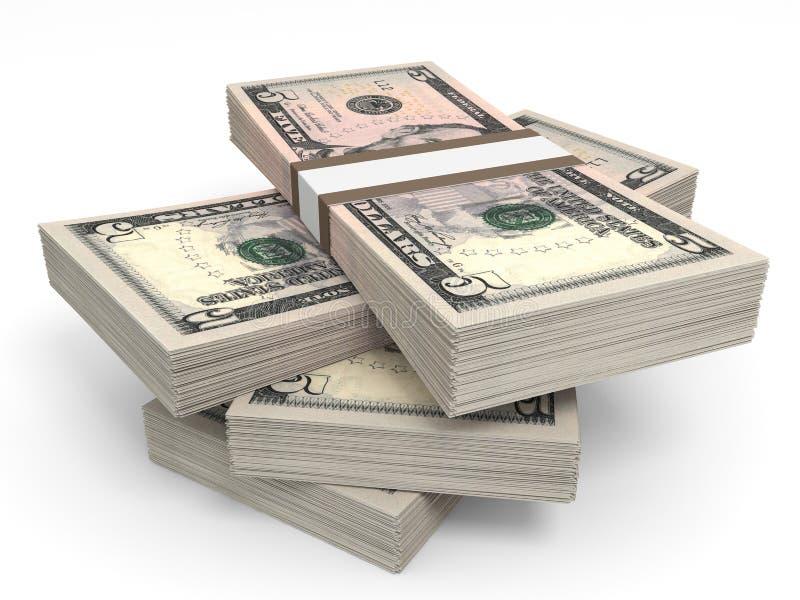 Pilhas de dinheiro Cinco dólares ilustração stock