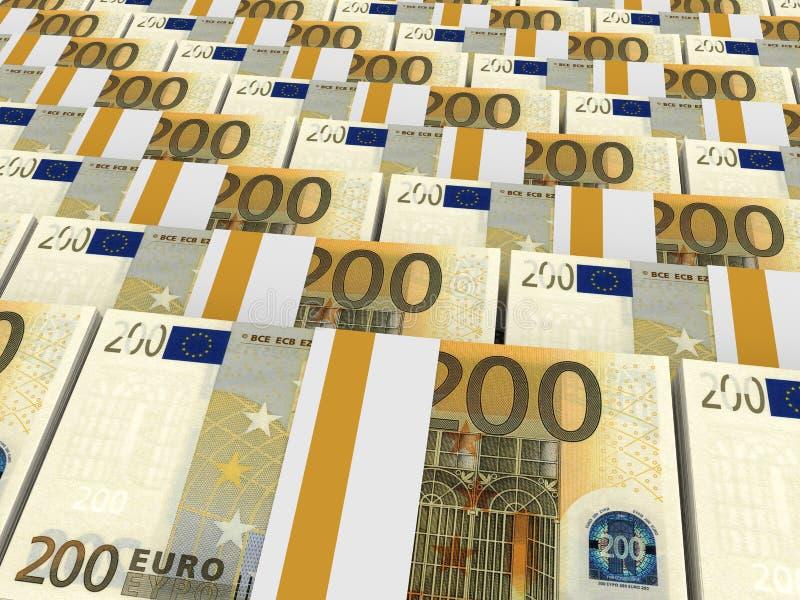 Pilhas de dinheiro Dois cem euro ilustração royalty free