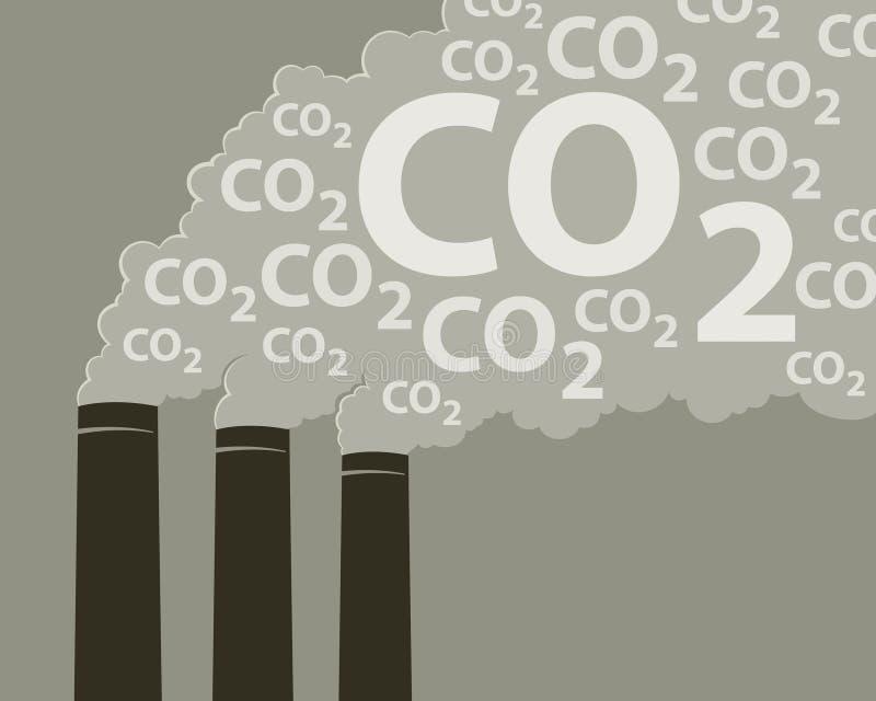 Pilhas de fumo com CO2 ilustração royalty free