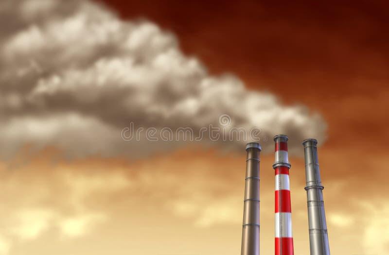 Pilhas de fumo industriais em um céu vermelho ilustração royalty free