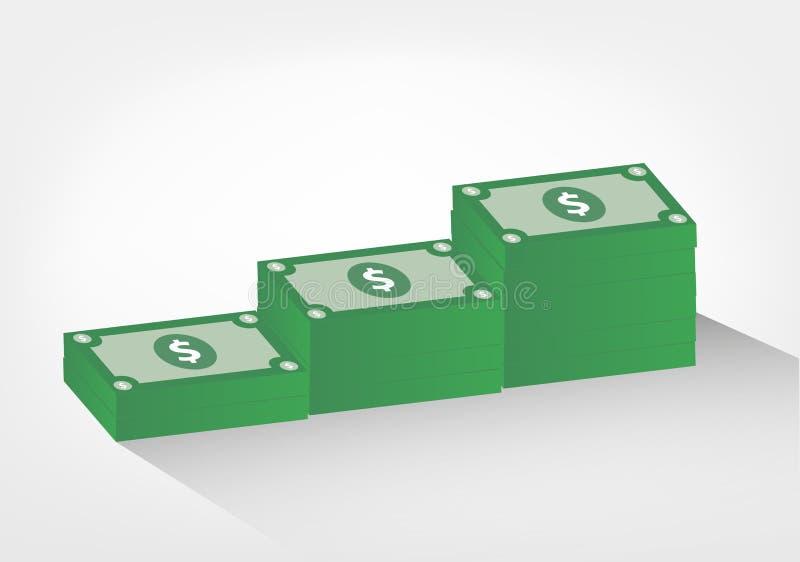 Pilhas de ilustração do dinheiro - gráfico de vetor das notas de dólar, ilustração do vetor