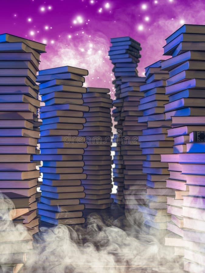 Pilhas de livros velhos, de fumo e de sparkles m?gicos ilustração royalty free