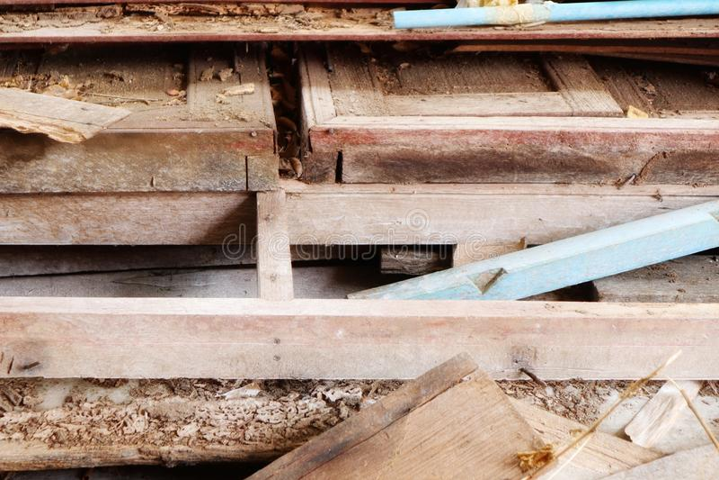 Pilhas de madeira velhas, desperdício de madeira, esquema de cores do vintage das imagens das texturas do fundo natural foto de stock royalty free