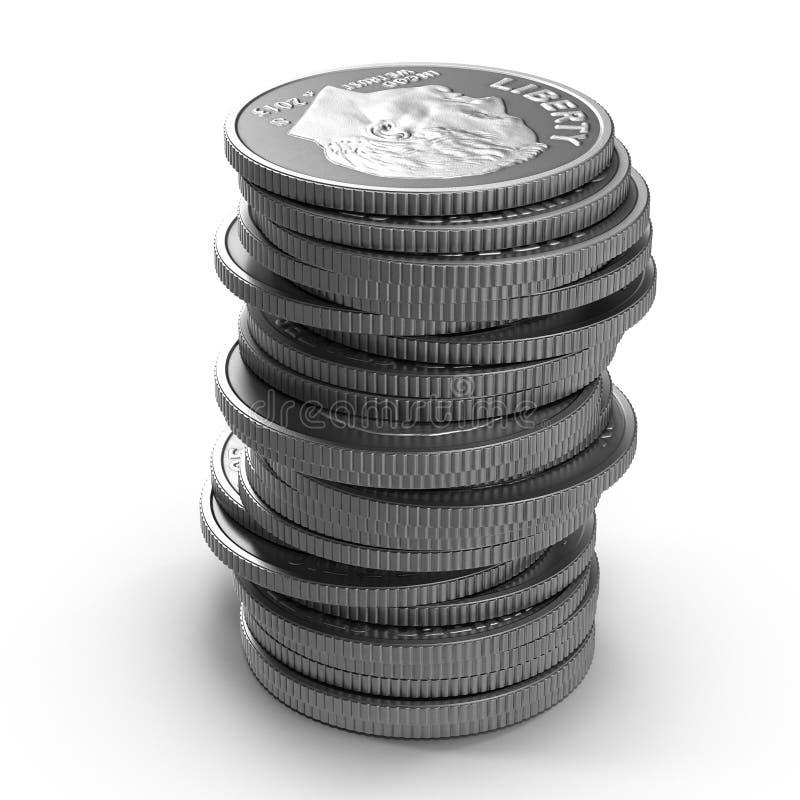 Pilhas de moedas americanas da moeda de dez centavos isoladas no branco ilustração 3D ilustração do vetor
