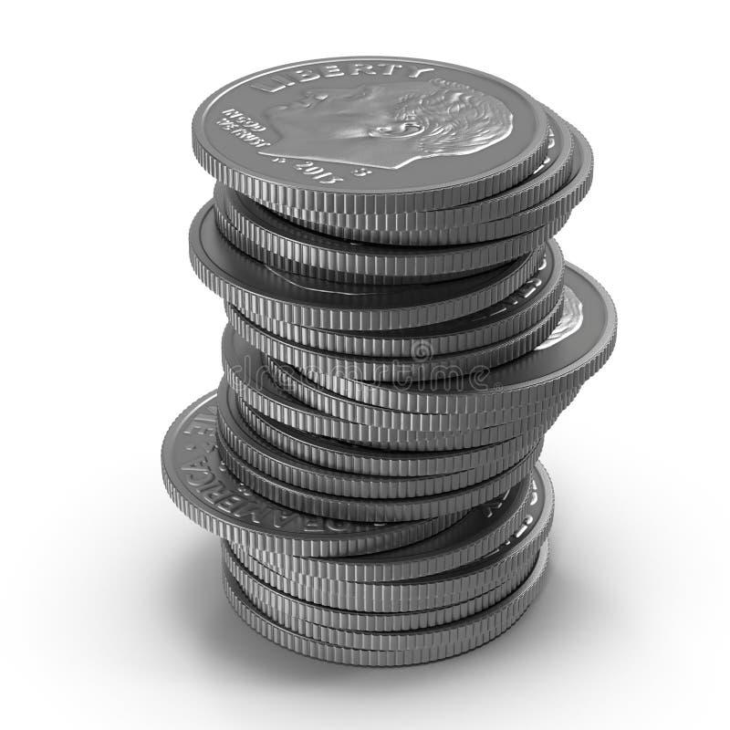 Pilhas de moedas americanas da moeda de dez centavos isoladas no branco ilustração 3D ilustração stock