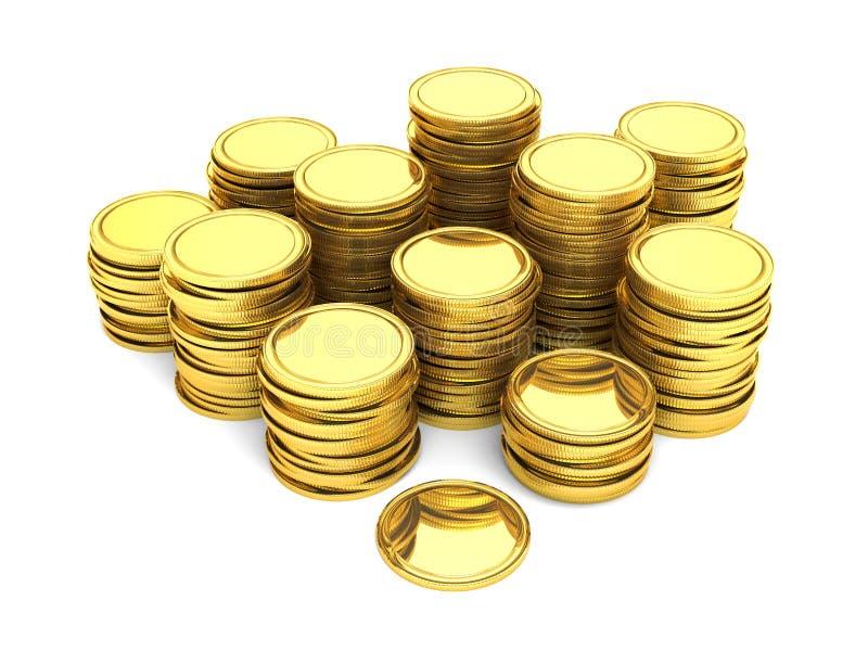 Pilhas de moedas de ouro ilustração stock
